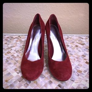 Jessica Simpson red suede pumps