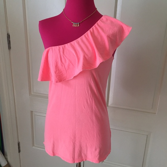 05b9adc2e1a10f Lilly Pulitzer Tops - Lilly Pulitzer Morely ruffle one shoulder top neon