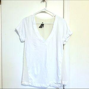 Seneca Rising Tops - NEW Seneca rising minimal white see through tshirt