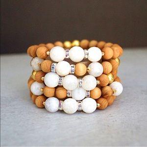 sandalwood and moonstone bracelet