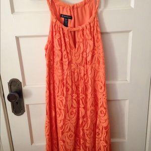 INC orange lace mini dress.