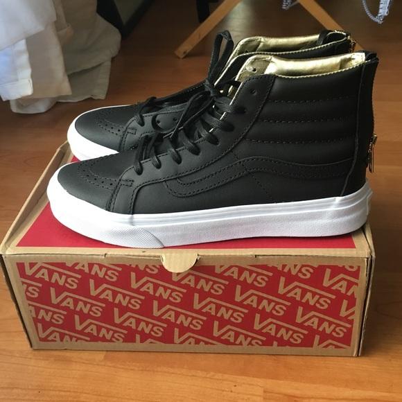 8600832d2c5 Vans sk8-hi slim black   gold leather size 7 BNWB
