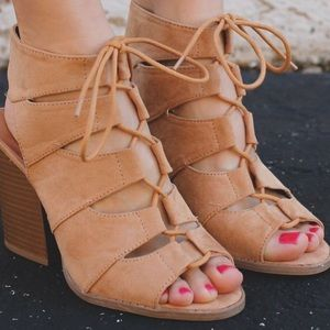 Shoes - Toffee slit cutout lace up heels