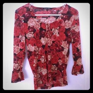 Cute Rose Print Blouse