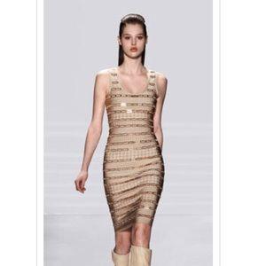 Herve Leger Dresses & Skirts - Herve Leger Manilla Gold Bandage Dress