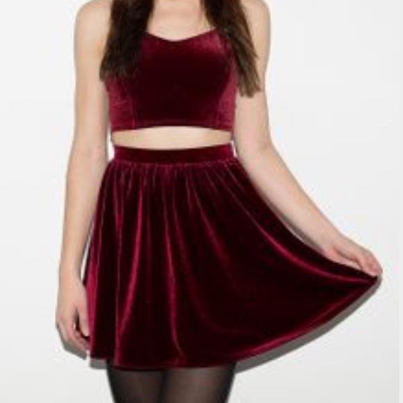 Red velvet skater dress american apparel