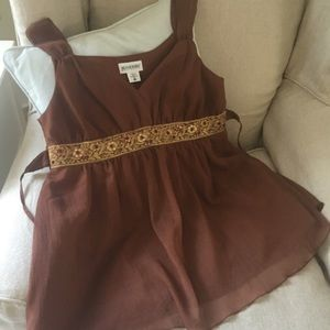 Motherhood Tops - Motherhood Boho shimmery chocolate swing top