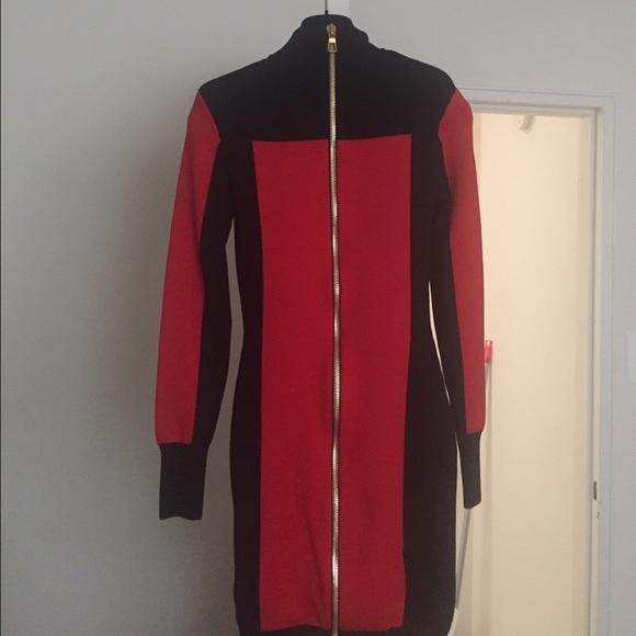 6ff4d06d6 Balmain Dresses   X Hm Red And Black Spandex Dress Size 4   Poshmark