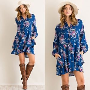 Dresses & Skirts - Floral Print Dress- TEAL
