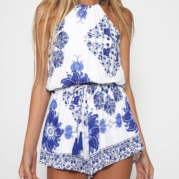 76d83cf17db LF Other - Blue Floral White Halter Romper