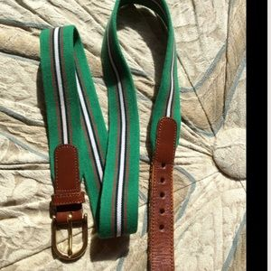 Dooney & Bourke Brown Leather Kelly Green Stripe