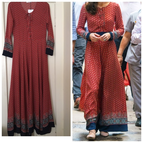 187766ddb15 Kate Middleton Red Maxi Dress NWT