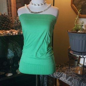 Green large nylon spandex tube top..
