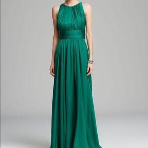 Badgley Mischka emerald green satin gown
