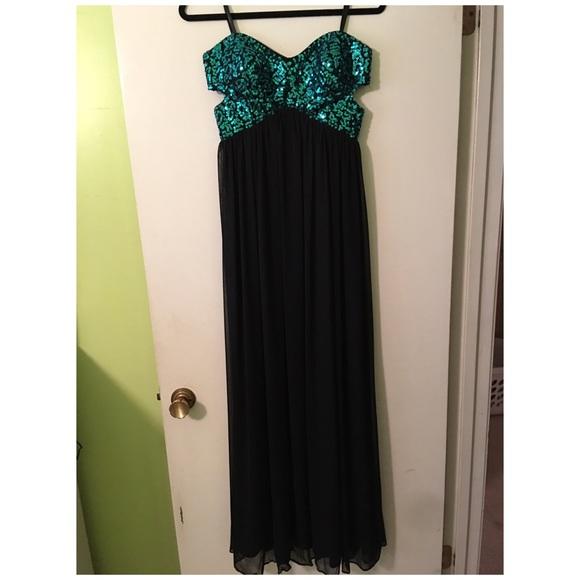 Blondie Nites Dresses Teal Sequin And Black Prom Dress Poshmark