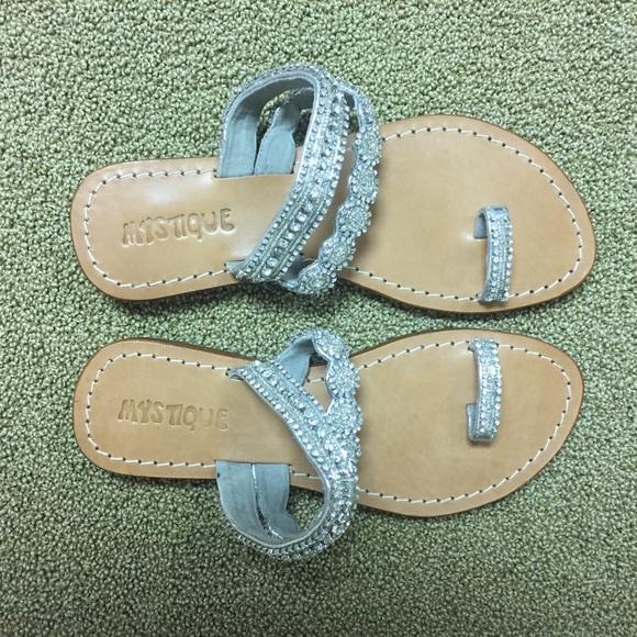 6793ba50ff09 Jeweled Silver and Tan Sandals. M 57858342a88e7d3bda028029