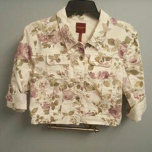 Highway Jeans Jackets & Blazers - Cropped Floral Denim Jacket