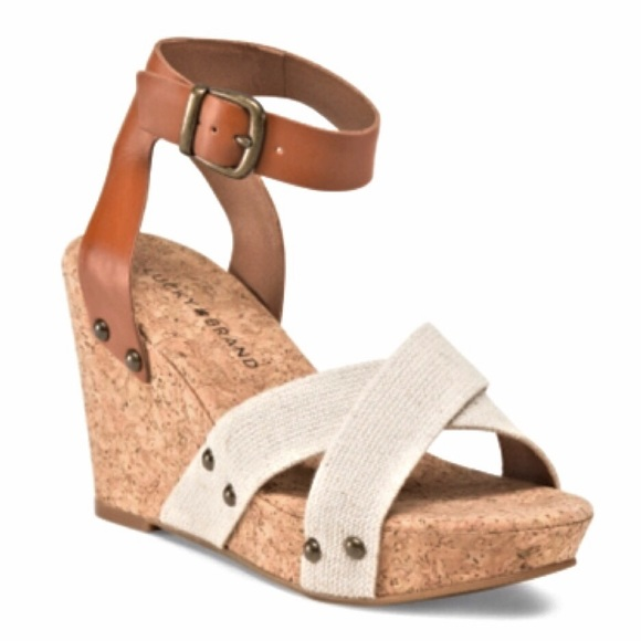 Women/'s Shoes  Lucky Brand  JIMBIA Wedge Sandals Ankle Strap Leather Brown Sugar