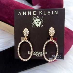 NWT Anne Klein CLIP Gypsy Hoop Pave earrings