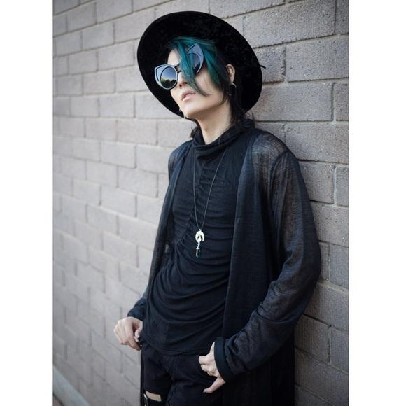 UNIF Sweaters - Sheer Black Witchy Kimono Duster Boho Goth Chiffon