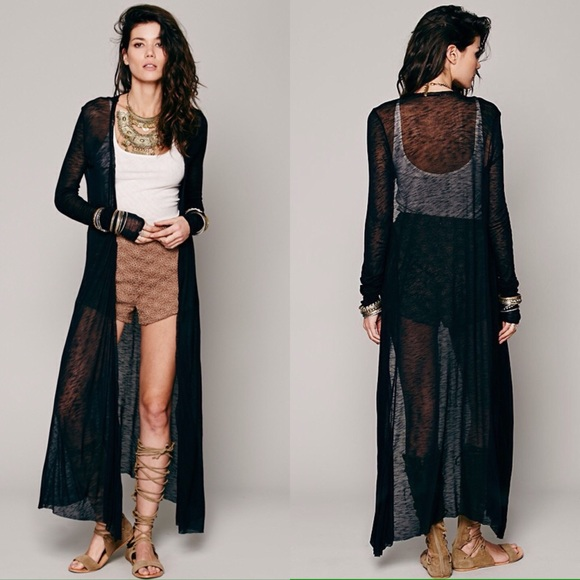 UNIF Sweaters - Sheer Black Witchy Kimono Duster Boho Goth Chiffon