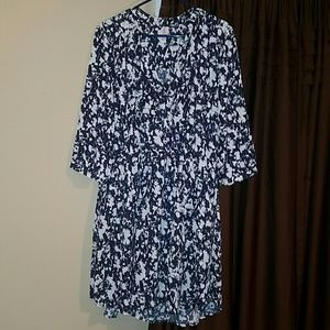 Xhilaration Navy and White Dress size XL