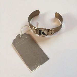 "Anthropologie Jewelry - Monogram Gold Rhinestone ""K"" Bracelet Bangle"
