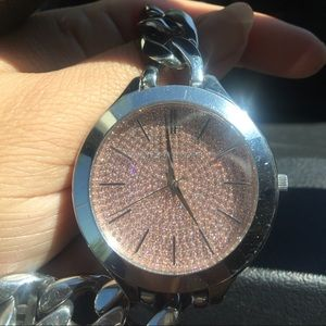 🎀Michael KORS Watch Silver with Pink 🎀
