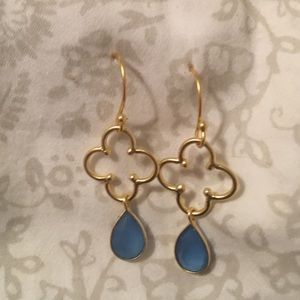 Jewelry - Vermeil Clover and blue chalcedony earrings