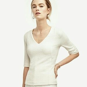 White Jacquard Peplum Top