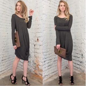 April Spirit Dresses & Skirts - ASYMMETRICAL HEMLINE CHARCOAL  DRESS
