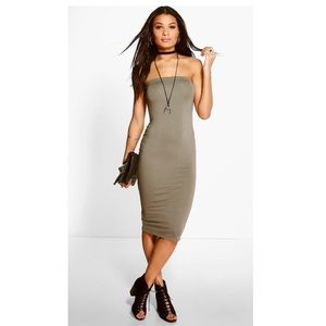 Bandeau Strapless Double Layer Midi Dress