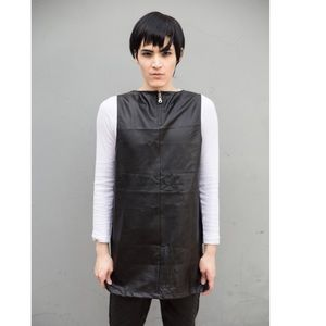 Unique Leather Tunic Top Shift Dress Mini Mod Edgy