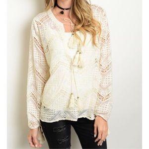 ❗️CLEARANCE❗️Boho Ivory Crochet Tunic Top  S M L