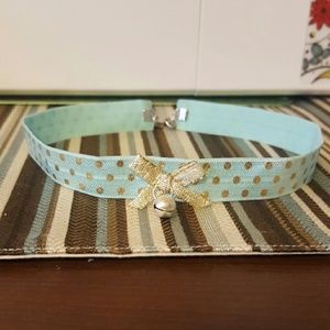 Kawaii Mint Green/Gold Choker with Gold Bow