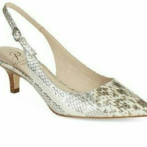 Adrianna papell Luna snake embossed kitten heels