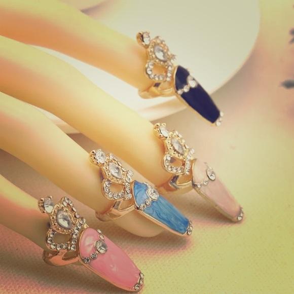 U Couture Jewelry Nail Art Crown Tip Rings Gemstone And Rhinestone