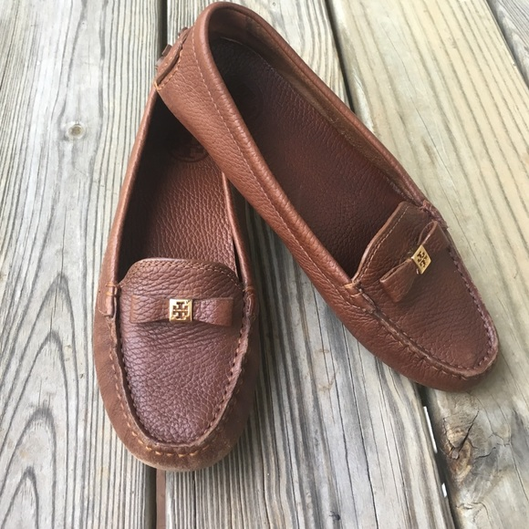 Tory Burch Ludlow Tumbled Leather Driving Loafers