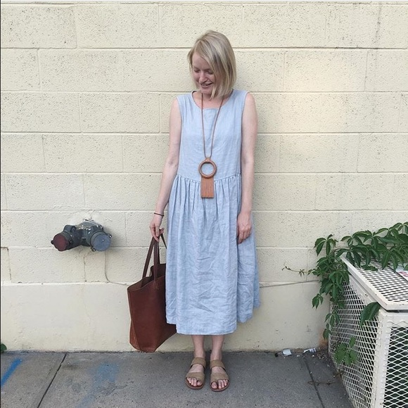 not perfect linen dresses midi linen dress in ice blue poshmark. Black Bedroom Furniture Sets. Home Design Ideas
