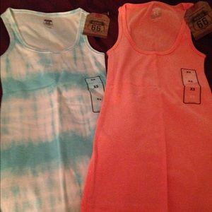 Two xs Route 66 tank tops
