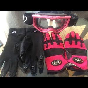 Bilt Other - Bilt dirt bike 3-pack pink goggles & gloves & more