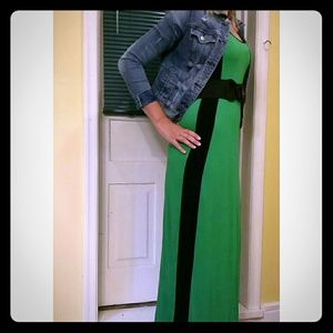 MAXI DRESS Emerald green and black