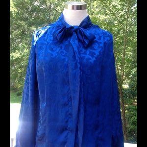 Vintage Royal Blue Swirl Bow Tie Secretary Blouse