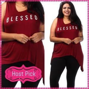Passion of Essense Tops - HP 6/13/17 Plus Size Wine Blessed Sleeveless Top