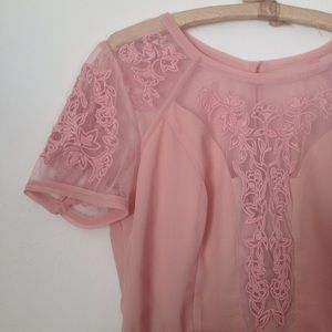 Kimchi Blue pale pink crepe dress with lace insets