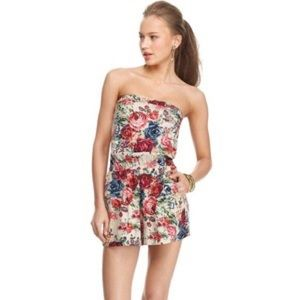 Angie Pants - Strapless floral romper