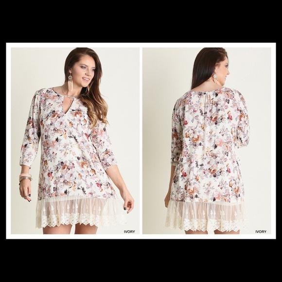 🌺➡️ Plus Size Country Boho Floral Tunic Dress XL!