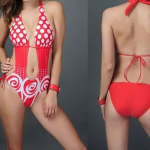 unbranded Other - Red & White Polka Dot Monokini Swimsuit