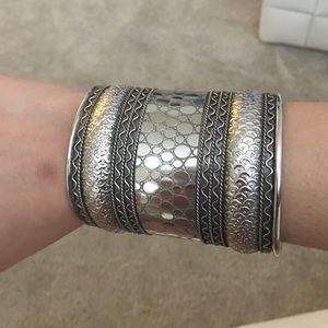 Thick silver arm cuff