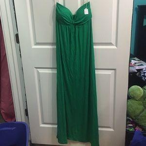 Strapless green maxi dress